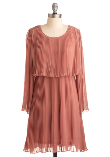 Mauve Your Body Dress - Pink, Solid, Pleats, Casual, A-line, Long Sleeve, Wedding, Party, Vintage Inspired, Spring, Mid-length