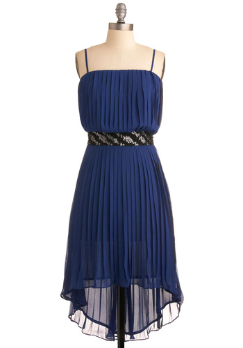 Accordion to You Dress - Blue, Solid, Sequins, Wedding, Party, A-line, Spaghetti Straps, 20s, Summer, Short
