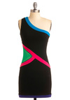 Bayside Bombshell Dress - One Shoulder, Black, Green, Blue, Pink, Sheath / Shift, Party, 80s, Summer, Short, Neon, Girls Night Out, Bodycon / Bandage, Sheer, Cotton