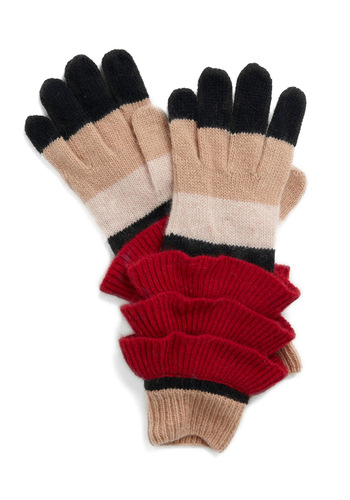 Bell Choir Gloves - Red, Cream, Black, Stripes, Knitted, Tan, Ruffles, Fall, Winter