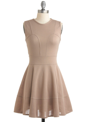 Infinite Possibilities Dress - Cream, Solid, Casual, A-line, Sleeveless, Tan, Wedding, Party, Spring, Short