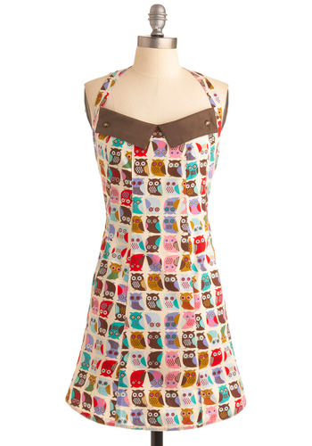If You Can't Stand the Hoot Apron - Multi, Print with Animals, Owls, Mid-Century, Cotton