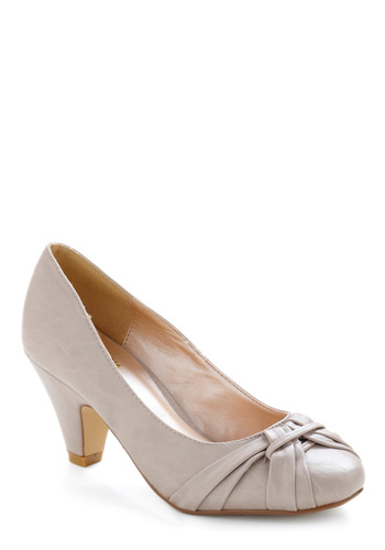 Strawberry Mocha Heel - Cream, Solid, Work, Mid