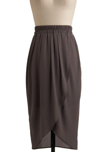 Tonight's the Night Skirt - Grey, Solid, Party, Work, Casual, Spring, Summer, Fall, Vintage Inspired, 20s, 30s, 40s, Mid-length