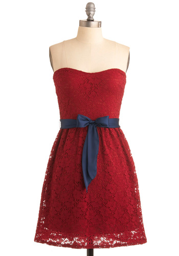 Raspberry Compote Dress - Red, Blue, Lace, A-line, Strapless, Solid, Exposed zipper, Party, Summer, Fall, Mid-length