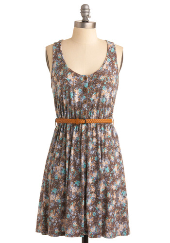 Switch It Up Dress - Blue, Floral, A-line, Tank top (2 thick straps), Casual, Summer, Multi, Brown, White, Short, Tis the Season Sale