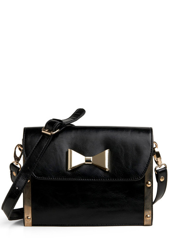 State Your Case Shoulder Bag - Black, Gold, Bows, Solid