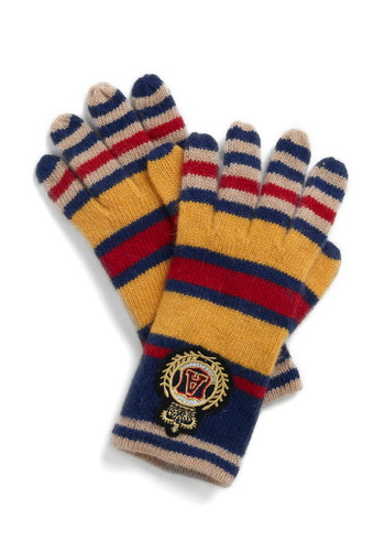 Scholar Scheme Gloves - Yellow, Blue, Red, Tan / Cream, Stripes, Fall, Winter