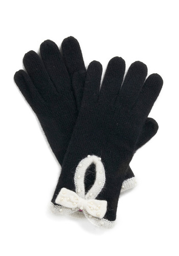 Pearly Winter Gloves - Black, White, Solid, Bows, Pearls, Fall, Winter