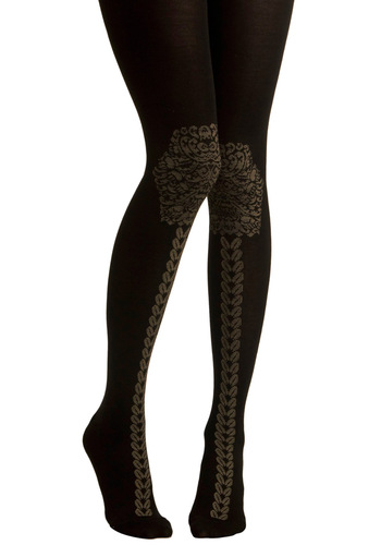 I Knee-d You Now Tights - Black, Tan / Cream, Print, Fall, Winter, Solid
