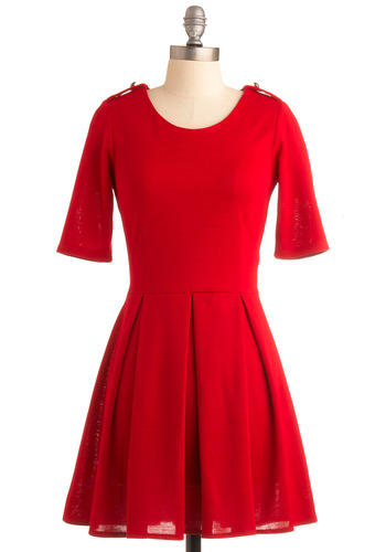 Ladylike in Red Dress - Red, Solid, Buttons, Epaulets, A-line, Pleats, Casual, Short Sleeves, Fall, Winter, Mid-length