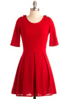 Ladylike in Red Dress - Red, Solid, Buttons, Epaulets, A-line, Pleats, Party, Casual, Short Sleeves, Fall, Winter, Mid-length