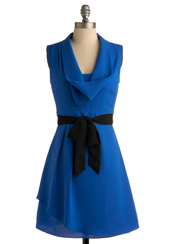 Loyal Blue Dress - Blue, Black, Solid, Bows, A-line, Sleeveless, Party, Work, Spring, Fall, Mid-length