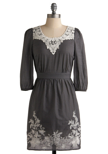 Lacewing Listening Dress - Grey, White, Floral, Lace, Shift, 3/4 Sleeve, Party, Casual, Embroidery, Spring, Mid-length