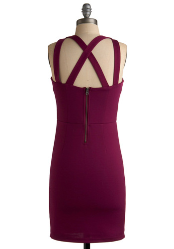 Make an Entrance Dress by Jack by BB Dakota - Purple, Solid, Party, Shift, Exposed zipper, Sleeveless, Summer, Mid-length