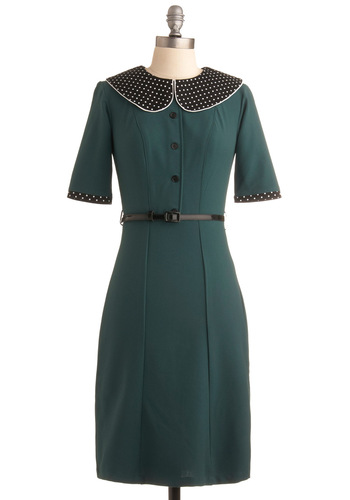 Expecting Guests Dress - Green, Tan / Cream, Black, Solid, Polka Dots, Party, Work, Pinup, Vintage Inspired, Shift, 3/4 Sleeve, Fall, Mid-length