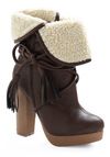 Sure 'Wood' Look Good Boot - Brown, Tan / Cream, Casual, Fall, Winter, Solid, Tassles