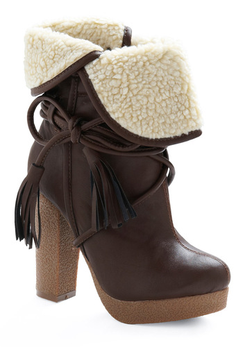 Sure 'Wood' Look Good Boot - Brown, Tan / Cream, Casual, Fall, Winter, Solid, Tassels