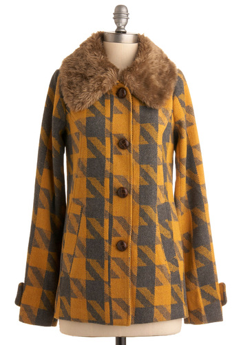 Pencils and Buses Coat by Knitted Dove - Yellow, Grey, Houndstooth, Long Sleeve, Brown, Tan / Cream, Fall, Winter, Vintage Inspired, 60s, Mid-length, Plaid, 2.5