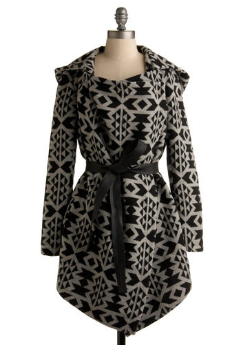 Artist Statement Coat by BB Dakota - Print, Long Sleeve, Fall, Winter, Long, Black, Grey, 2.5