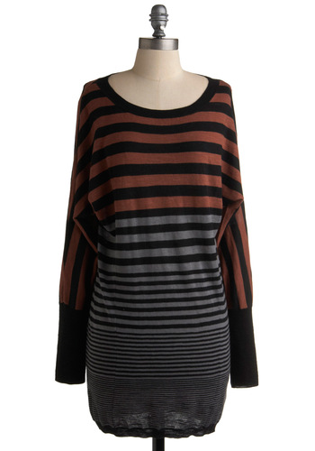 Evening Onset Sweater by Jack by BB Dakota - Black, Stripes, Long Sleeve, Casual, Fall, Winter, Long, Brown, Grey