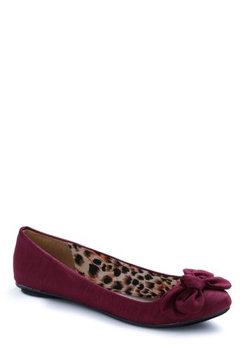 Downstream Surprise Flat in Magenta - Solid, Bows, Purple, Work, Casual, Fall