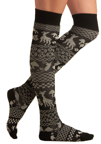 Storybook Setting Socks - Cream, Black, Print with Animals, Knitted, Fall, Winter