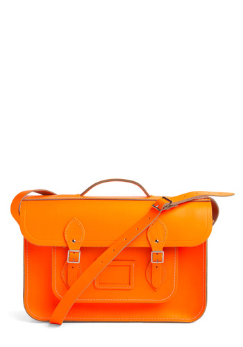 "Cambridge Satchel Upwardly Mobile Satchel in Neon Orange - 15"" by The Cambridge Satchel Company  - Orange, Solid, Buckles, Neon, Scholastic/Collegiate, Leather, International Designer, Graduation"