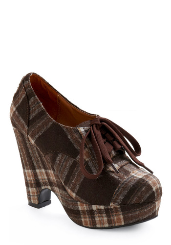 Pump Up the Plaid Heel - Brown, Plaid, Tan / Cream, Casual, Fall, Winter, Wedge