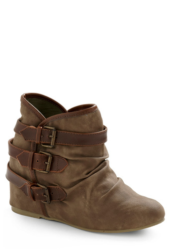 Buckle Down, Cowgirl Up Bootie - Brown, Grey, Buckles, Casual, Fall, Winter