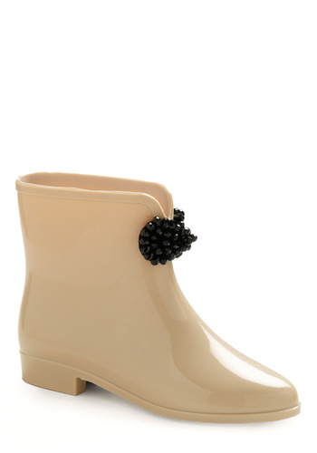 Rain and Shine Boot - Cream, Black, Bows, Solid, Beads, Spring, Fall, Vintage Inspired, 50s, 60s
