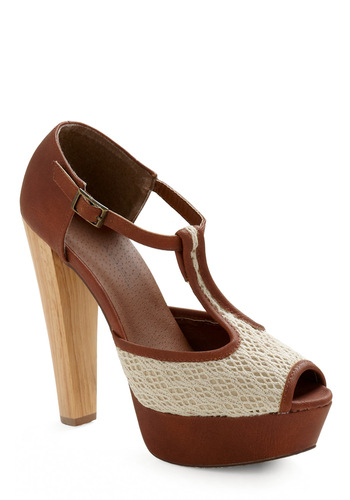 Cocktails in the Countryside Heel - Brown, Cream, Crochet, Solid, Party, Casual, Spring, Summer, Fall, Vintage Inspired, 20s, 30s, 40s