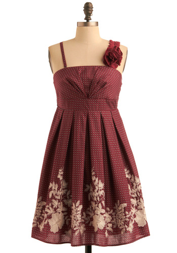 Coralberry Corsage Dress - Red, Tan / Cream, Floral, Flower, Pleats, Empire, Tank top (2 thick straps), Paisley, Party, 40s, Embroidery, Short, Wedding, Cotton