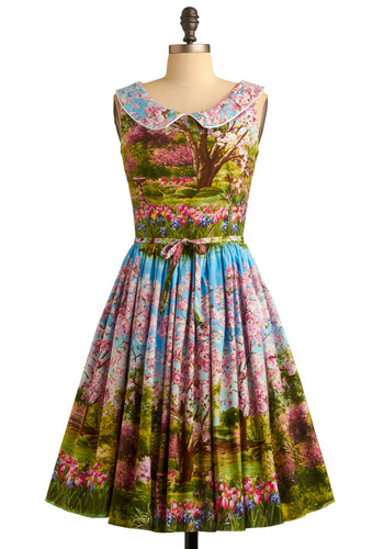 Scene and Believed Dress by Bernie Dexter - Multi, Print, Peter Pan Collar, Pleats, A-line, Sleeveless, 50s, Spring, Rockabilly, Pinup, Cotton, Belted, Daytime Party, Collared, Fit & Flare, Graduation, Long