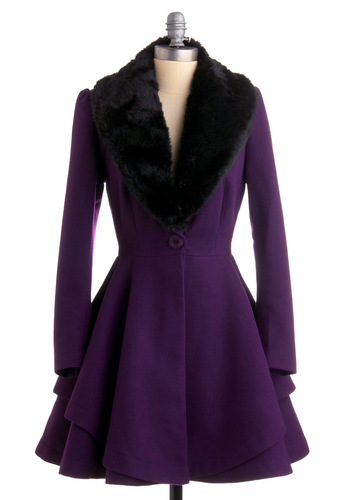 Always A-List Coat - Purple, Solid, Long Sleeve, Black, A-line, Fall, Winter, Long, 3