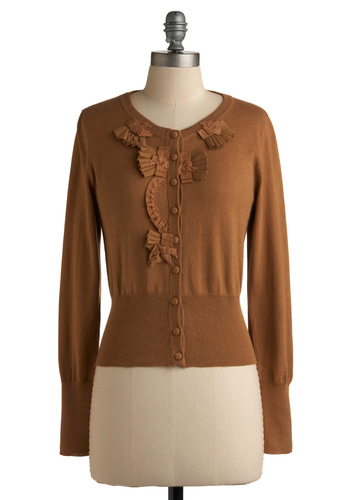 Banoffee Pie Cardigan - Tan, Solid, Bows, Pleats, Long Sleeve, Work, Casual, Fall, Short, Show On Featured Sale, Show On Featured Sale