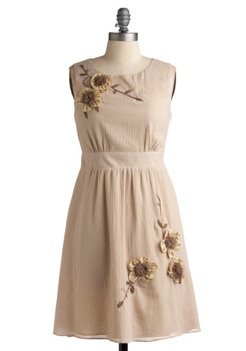 Ann Ardor Dress - Cream, Brown, Flower, Casual, A-line, Sleeveless, Tan, Solid, Wedding, Spring, Summer, Fall, Embroidery, Mid-length