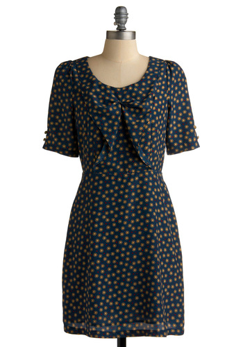 Hone Your Crafts Dress - Blue, Print, Shift, Short Sleeves, Red, Tan / Cream, Polka Dots, Bows, Buttons, Work, Casual, Fall, Mid-length