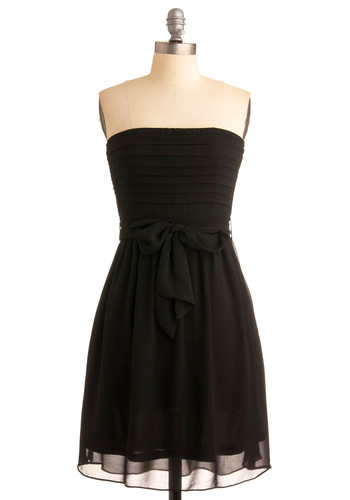 Ultra Marina Dress in Black - Black, Solid, A-line, Strapless, Wedding, Party, Summer, Mid-length, Belted, Variation, Bridesmaid