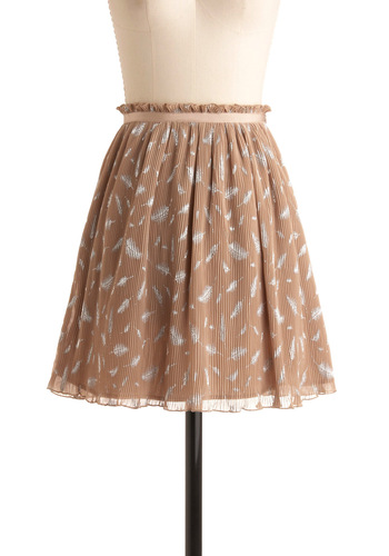 Plumes in Paradise Skirt by Darling - Brown, White, Print, Casual, Tan, Pleats, A-line, Spring, Fall, Short