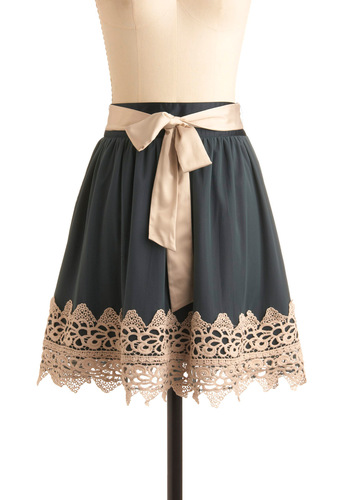 Vocal Celebrity Skirt by Darling - Blue, Tan / Cream, Lace, Party, A-line, Grey, Solid, Bows, Trim, Casual, Spring, Fall, Mid-length