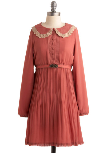 Afternoon Antiquing Dress - Pink, Tan / Cream, Solid, Lace, Casual, A-line, Long Sleeve, Buttons, Peter Pan Collar, Pleats, Mid-length, International Designer