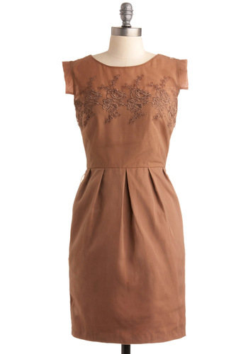 Framed on the Mantle Dress by Darling - Brown, Solid, Embroidery, Wedding, Party, Sheath / Shift, Sleeveless, Bronze, Pleats, Pockets, Spring, Mid-length