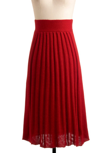 Pleats Be Red-y Skirt - Red, Solid, Pleats, Casual, Fall, Winter, Long