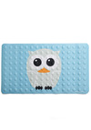 Wing and Shout Bath Mat by Kikkerland - Owls, Blue, Grey, White, Orange, Black, Print with Animals, Kawaii, Pastel