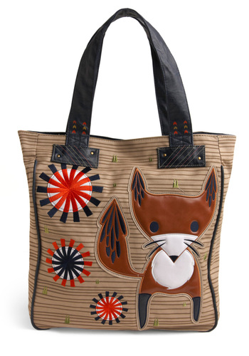 Think Inside the Fox Tote by Loungefly - Tan, Multi, Print with Animals, Embroidery, Show On Featured Sale, Show On Featured Sale
