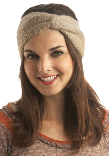 Get With Knit Head Scarf by Wooden Ships - Tan, Knitted, Casual, Fall, Winter