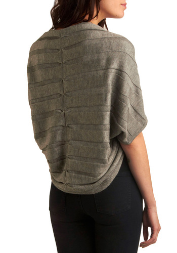 Shrug Life Sweater - Grey, Solid, Casual, Short Sleeves, Knitted, Fall, Winter, Mid-length