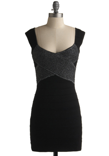 I'm With the Bandage Dress - Black, Silver, Shift, Grey, Cap Sleeves, Short, Solid, Party, Mini