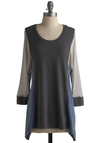 Casual Wonder Top - Grey, Blue, Long Sleeve, Casual, Fall, Mid-length, Scoop